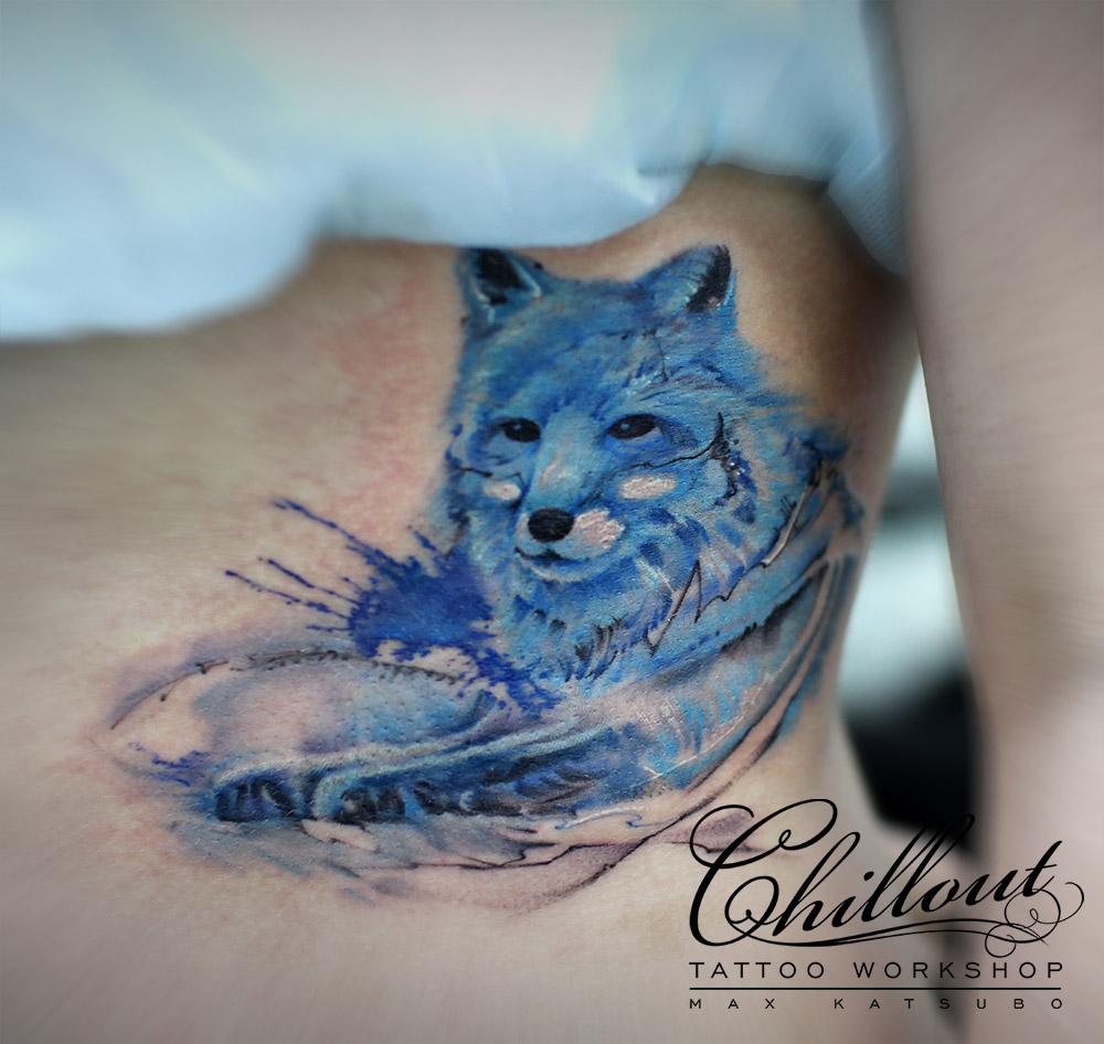 Тату голубая лиса лиса акварель