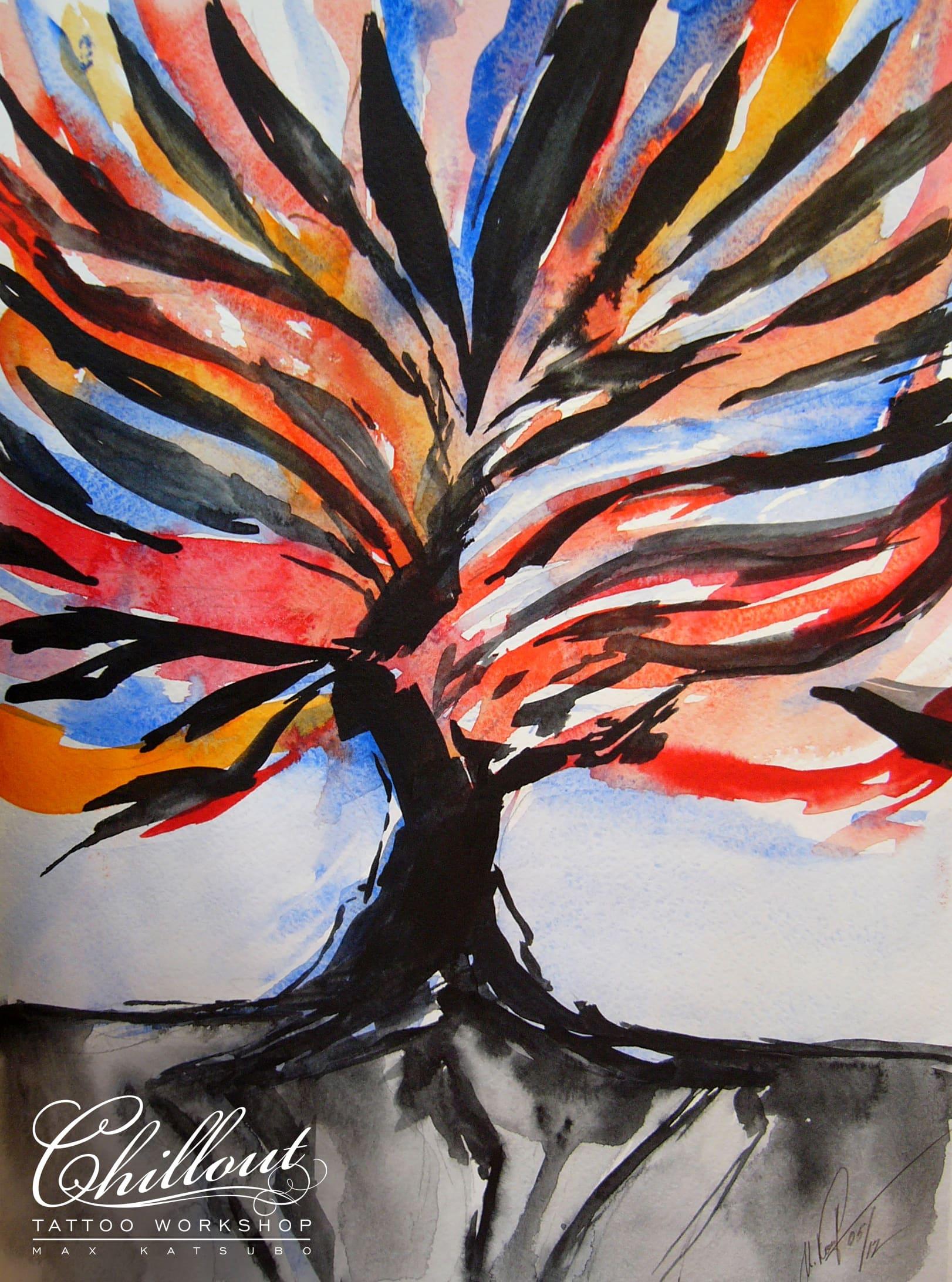 Art тату эскиз Дерево