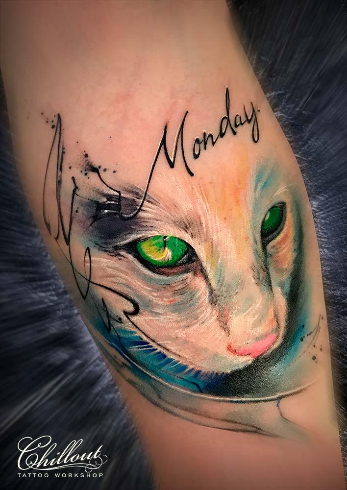 Татуировка котенок акварель на урке