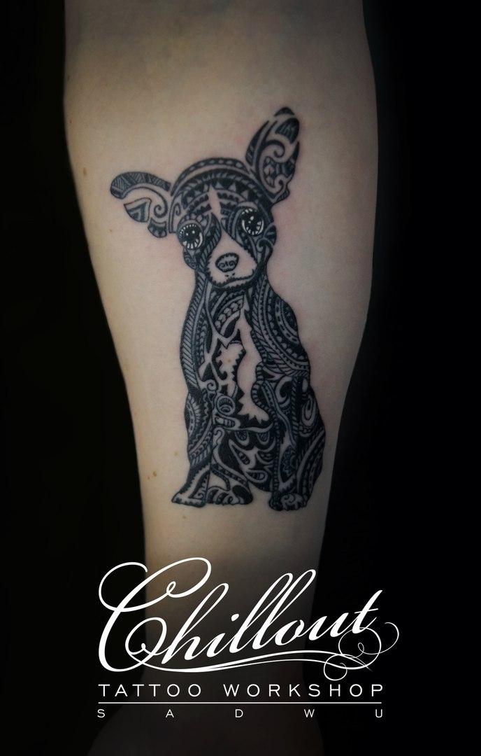 Татуировка собака графика