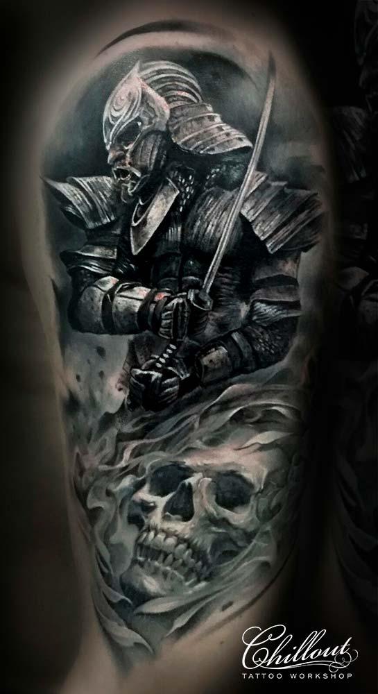 Тату самурай и череп