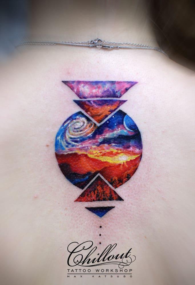 Татуировка графика космос