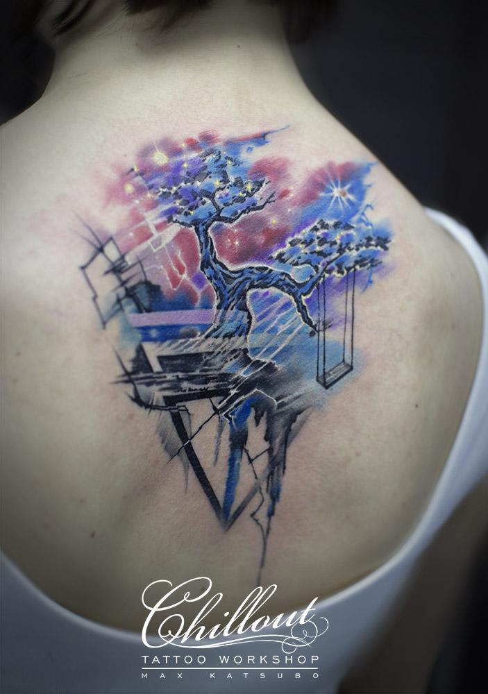 Татуировка качели на дереве графика