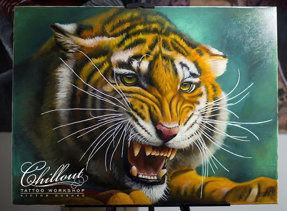 Тигр, холст, масло.