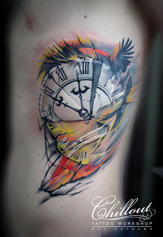 Татуировка часы треш полька