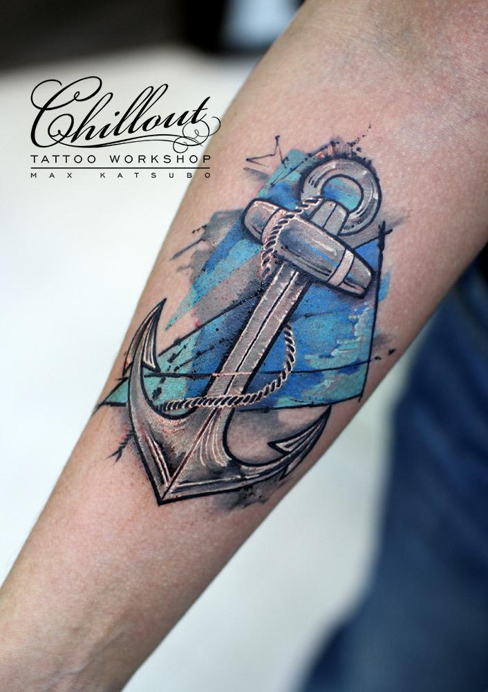Татуировка якорь графика на руке