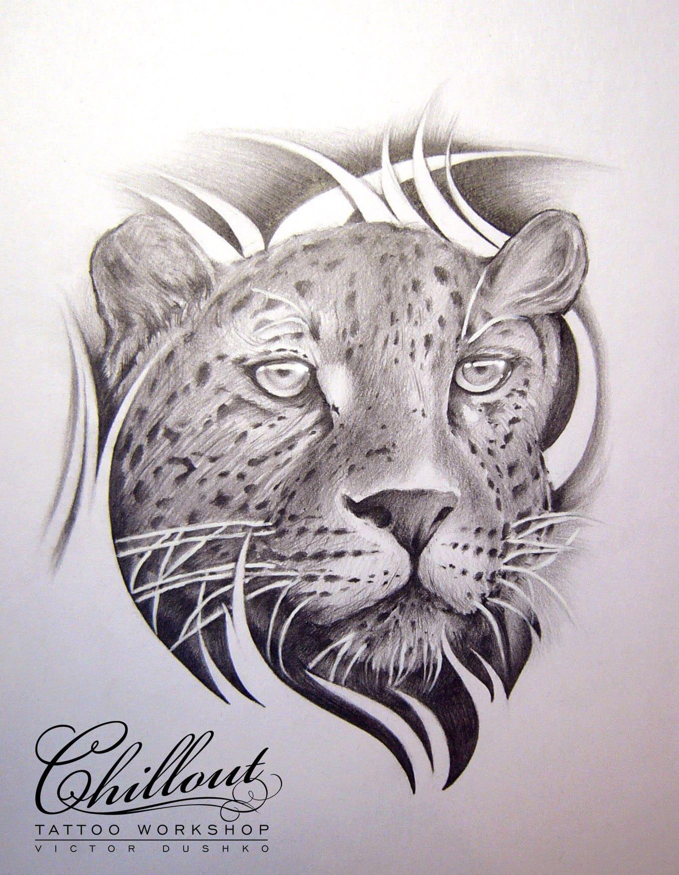 Art тату эскиз Леопард