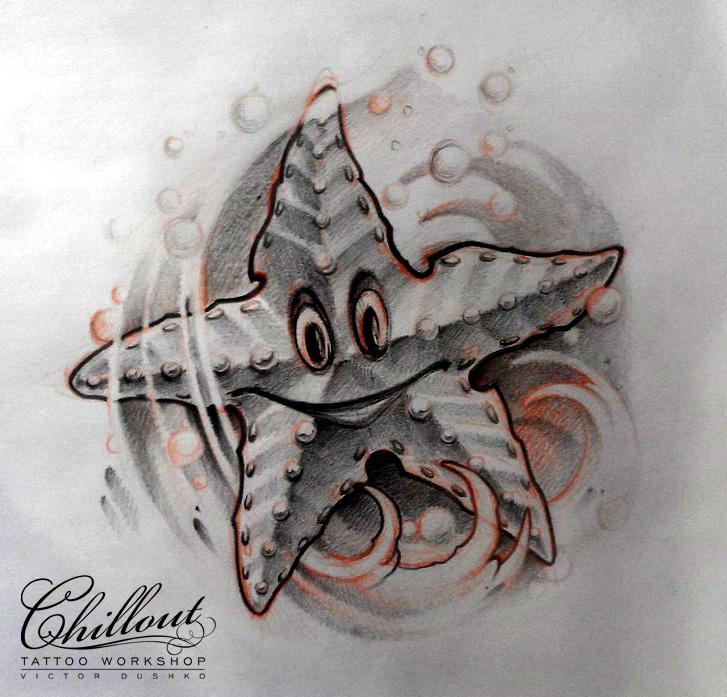 Art тату эскиз Морская звезда
