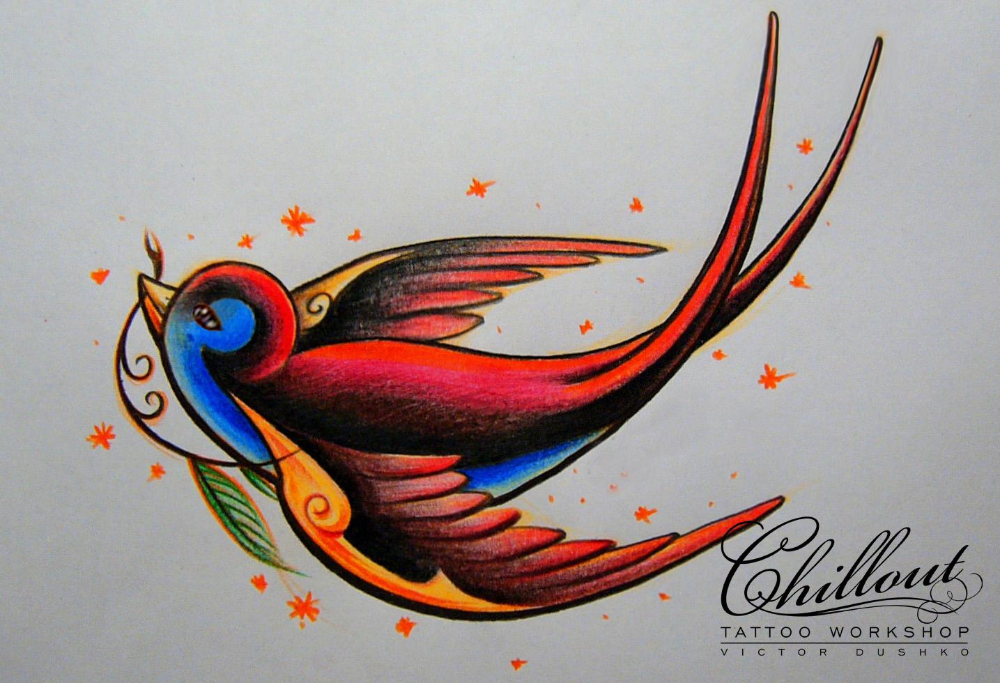 Art тату эскиз ласточка