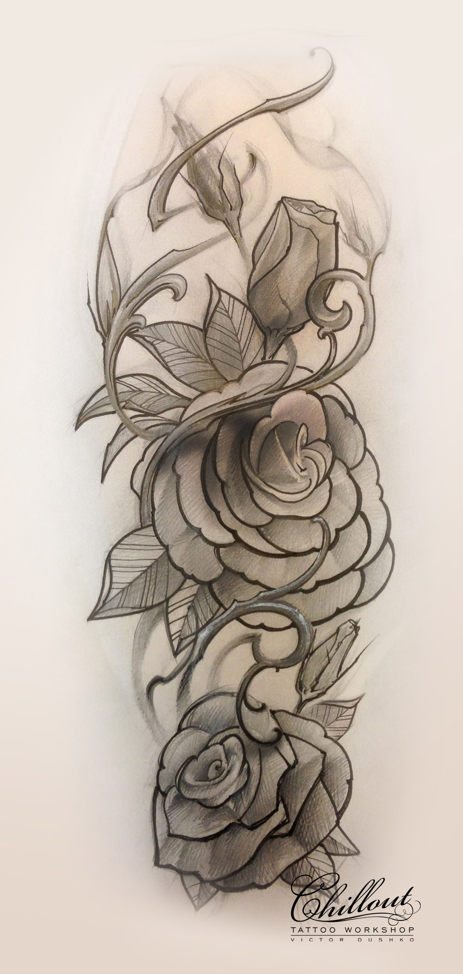 Art тату эскиз Розы