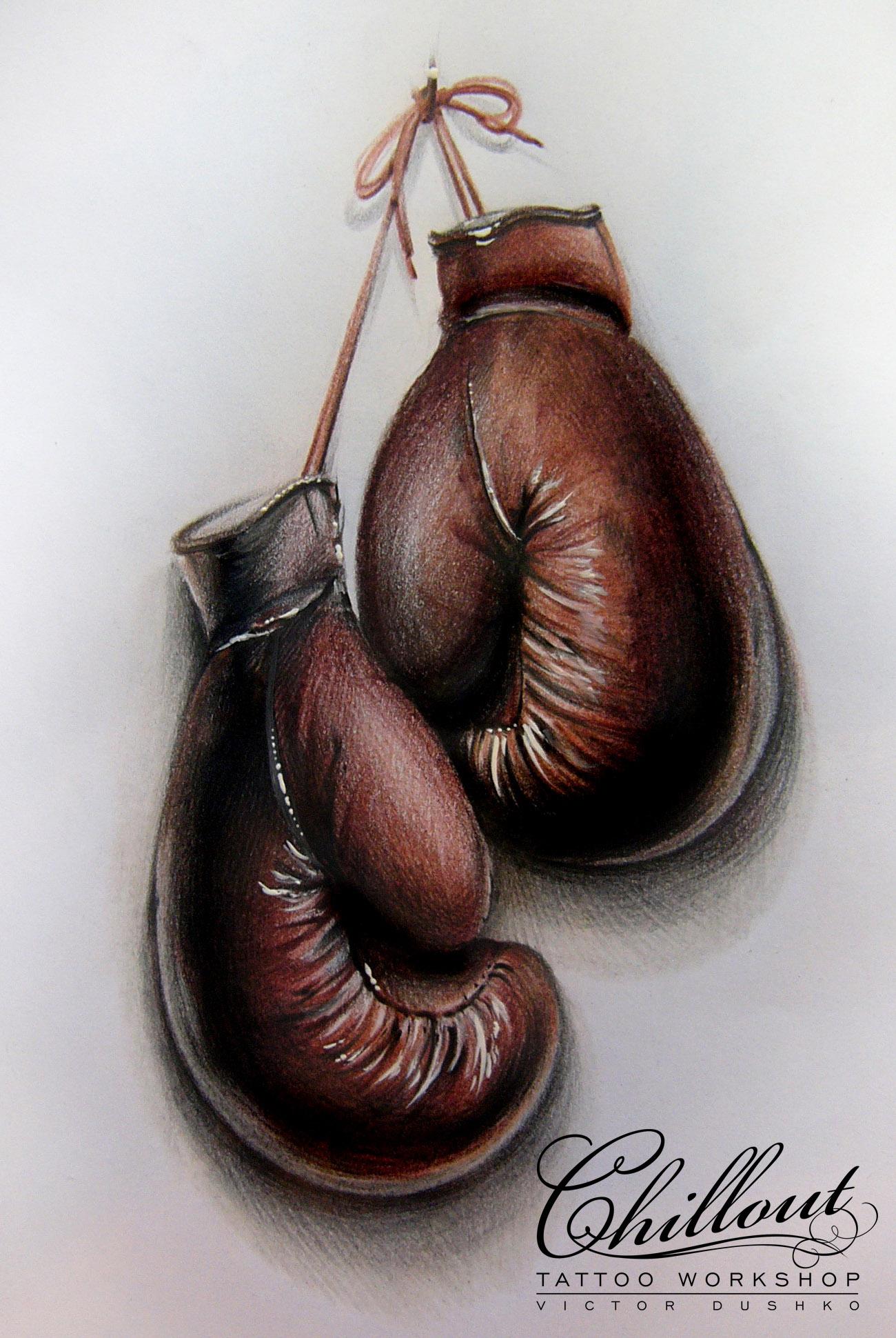 Art тату эскиз боксёрские перчатки