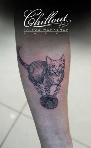 Татуировка кот графика