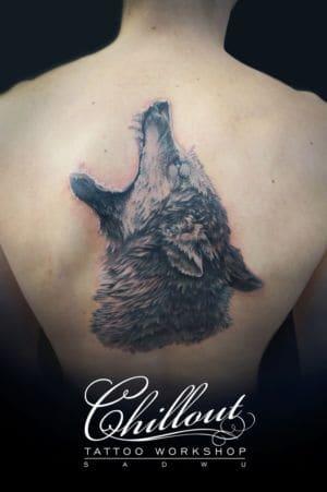 Татуировка волк, реализм.