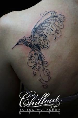 Татуировка птица, узор графика