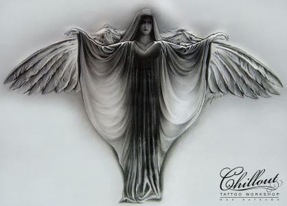 Art тату эскиз Ангел