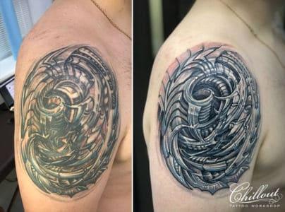 Татуировка биомеханика, исправление