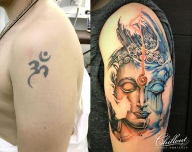 Перекпытие старой татуировки. Будда.