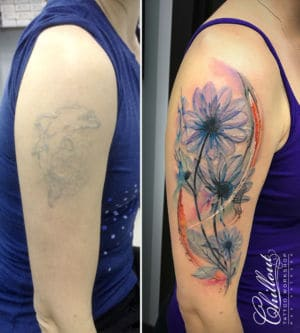 Перекрытие старой татуировки, Цветы.