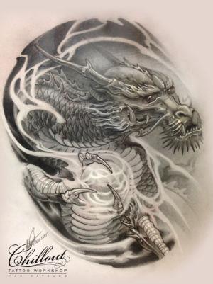 Art тату эскиз Дракон