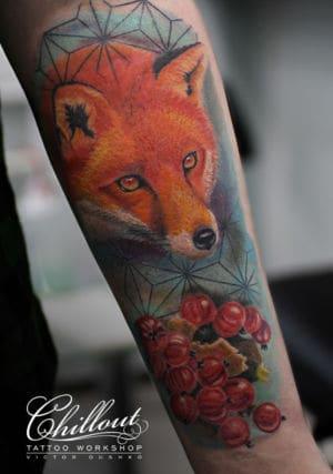 Татуировка леса графика ра руке