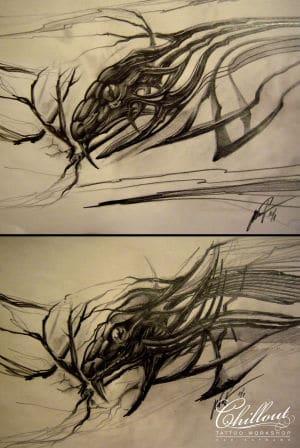 Art тату эскиз Ящерица