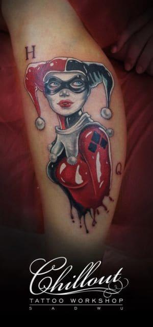 Татуировка цветная Харли Квинн