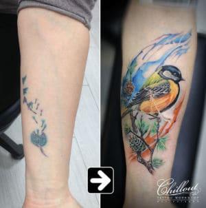 Татуировка синица на руке перекрытие