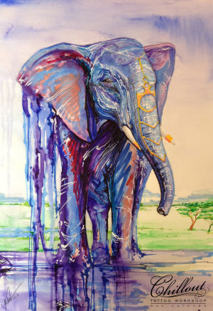 Art тату эскиз Слон