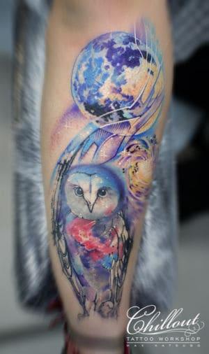 Татуировка сова и луна