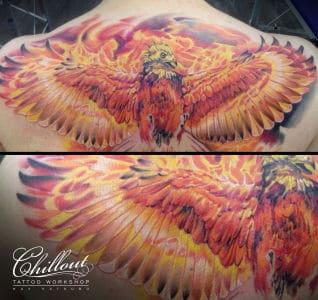 Тату Огненный Феникс