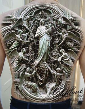 Эскиз тату Дева Мария