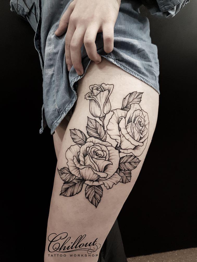 Татуировка Розы на Бедре Вип шейдинг